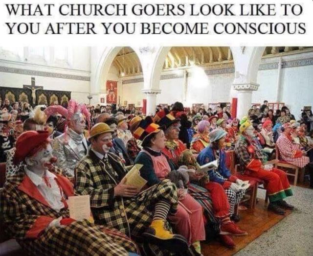 Church Goers as Clowns