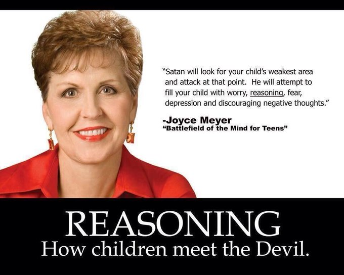 Satan ... will attempt to fill your child with worry, reasoning, fear ...